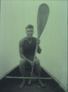 Milton Erickson in a canoe